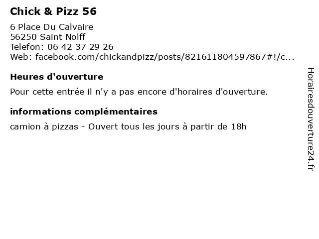 Chick & Pizz 56 à Saint Nolff: adresse et heures d'ouverture