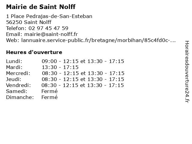 Mairie de Saint Nolff à Saint Nolff: adresse et heures d'ouverture