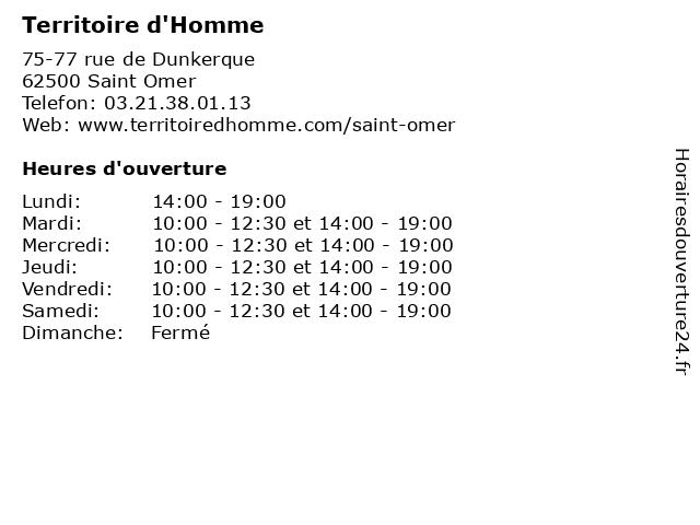 Territoire d'Homme à Saint Omer: adresse et heures d'ouverture
