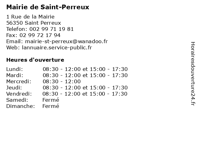 Mairie de Saint-Perreux à Saint Perreux: adresse et heures d'ouverture