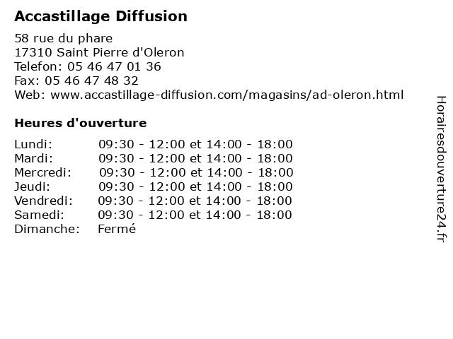 Accastillage Diffusion à Saint Pierre d'Oleron: adresse et heures d'ouverture