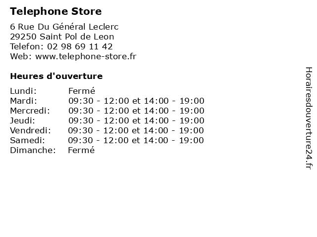 Telephone Store à Saint Pol de Leon: adresse et heures d'ouverture