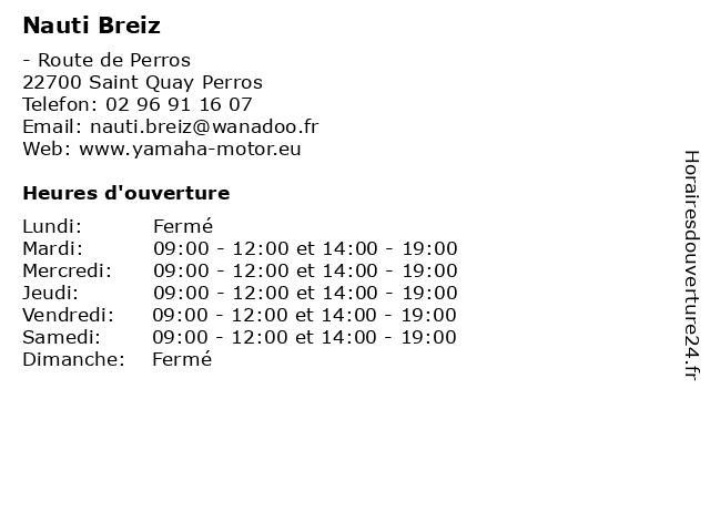 Nauti Breiz à Saint Quay Perros: adresse et heures d'ouverture