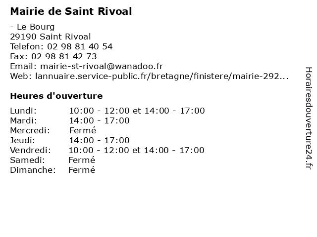 Mairie de Saint Rivoal à Saint Rivoal: adresse et heures d'ouverture