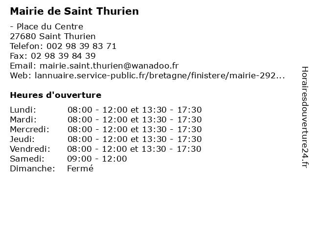 Mairie de Saint Thurien à Saint Thurien: adresse et heures d'ouverture