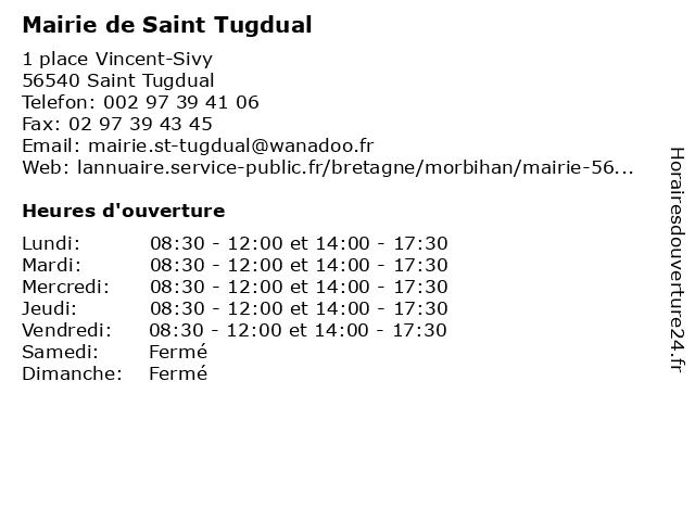 Mairie de Saint Tugdual à Saint Tugdual: adresse et heures d'ouverture