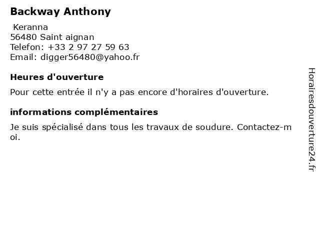 Backway Anthony à Saint aignan: adresse et heures d'ouverture