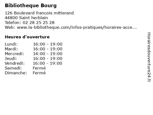 Bibliotheque Bourg à Saint herblain: adresse et heures d'ouverture