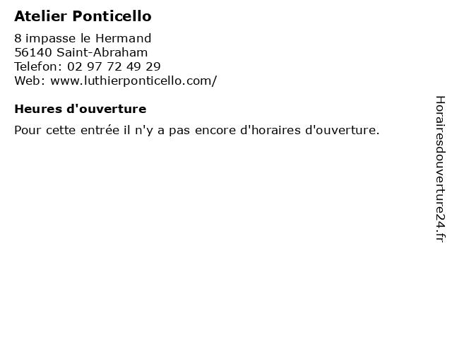 Atelier Ponticello à Saint-Abraham: adresse et heures d'ouverture