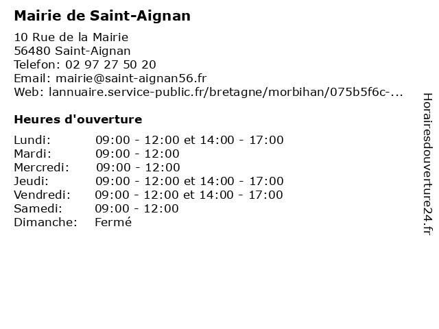 Mairie de Saint-Aignan à Saint-Aignan: adresse et heures d'ouverture