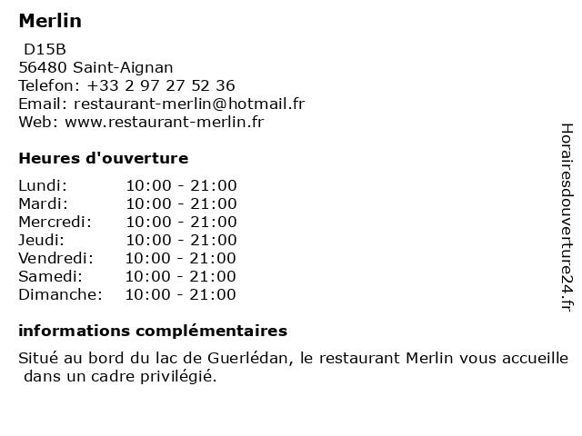 Merlin à Saint-Aignan: adresse et heures d'ouverture