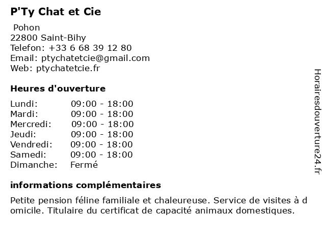 P'Ty Chat et Cie à Saint-Bihy: adresse et heures d'ouverture