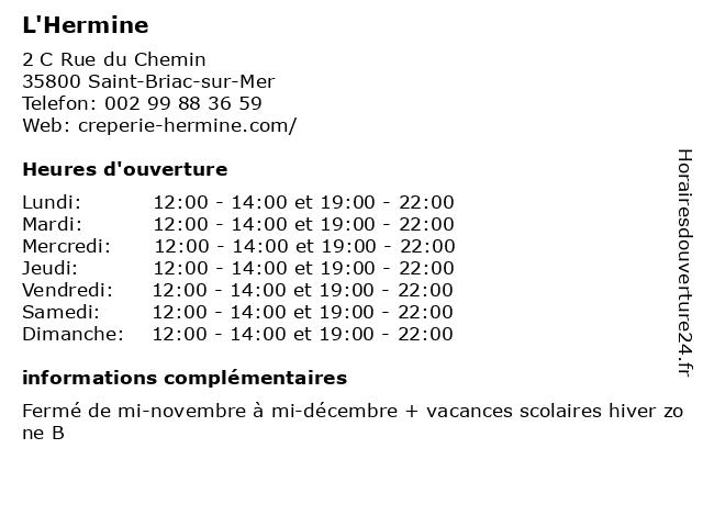 L'Hermine à Saint-Briac-sur-Mer: adresse et heures d'ouverture