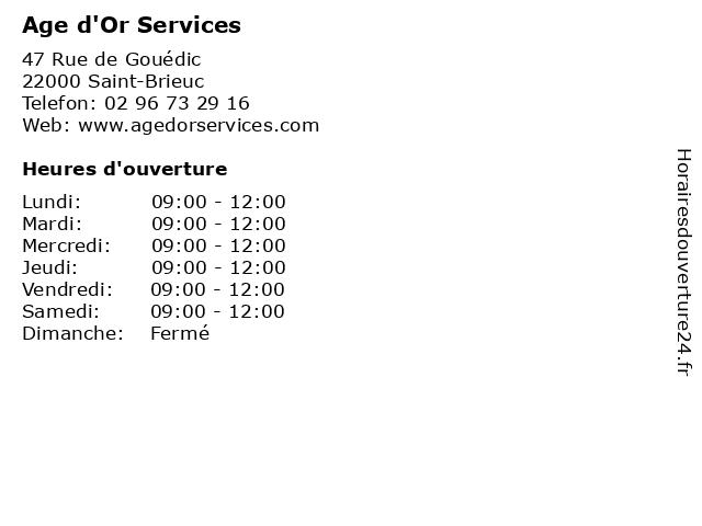 Age d'Or Services à Saint-Brieuc: adresse et heures d'ouverture