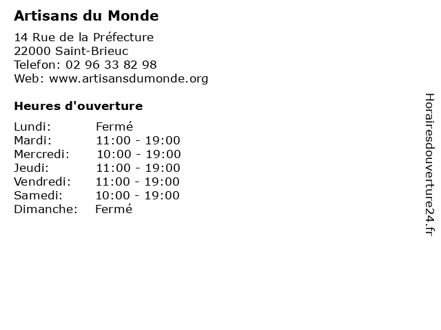 Artisans du Monde à Saint-Brieuc: adresse et heures d'ouverture
