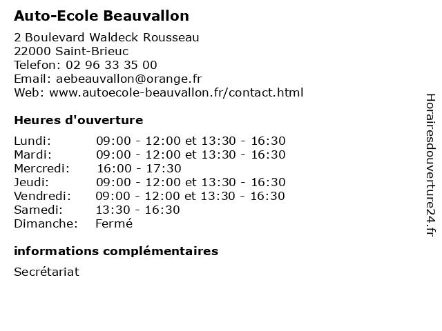 Auto-Ecole Beauvallon à Saint-Brieuc: adresse et heures d'ouverture