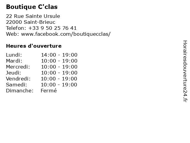 Boutique C'clas à Saint-Brieuc: adresse et heures d'ouverture
