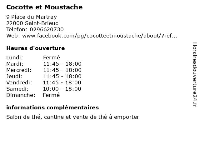 Cocotte et Moustache à Saint-Brieuc: adresse et heures d'ouverture