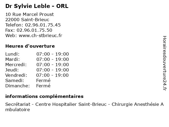 Dr Sylvie Leble - ORL à Saint-Brieuc: adresse et heures d'ouverture