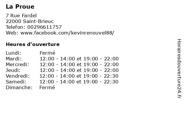 La Proue à Saint-Brieuc: adresse et heures d'ouverture