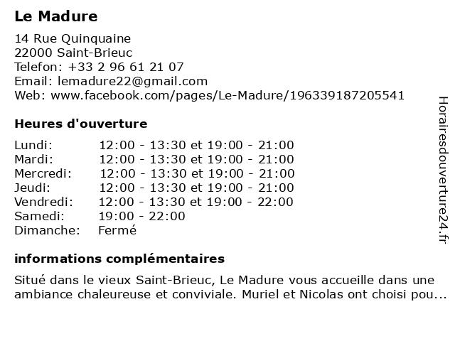 Le Madure à Saint-Brieuc: adresse et heures d'ouverture