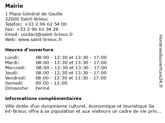 Mairie à Saint-Brieuc: adresse et heures d'ouverture