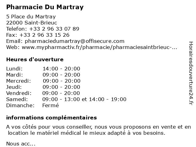 Pharmacie Du Martray à Saint-Brieuc: adresse et heures d'ouverture