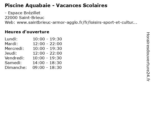 Piscine Aquabaie - Vacances Scolaires à Saint-Brieuc: adresse et heures d'ouverture