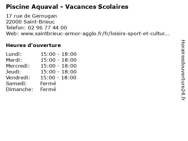 Piscine Aquaval - Vacances Scolaires à Saint-Brieuc: adresse et heures d'ouverture