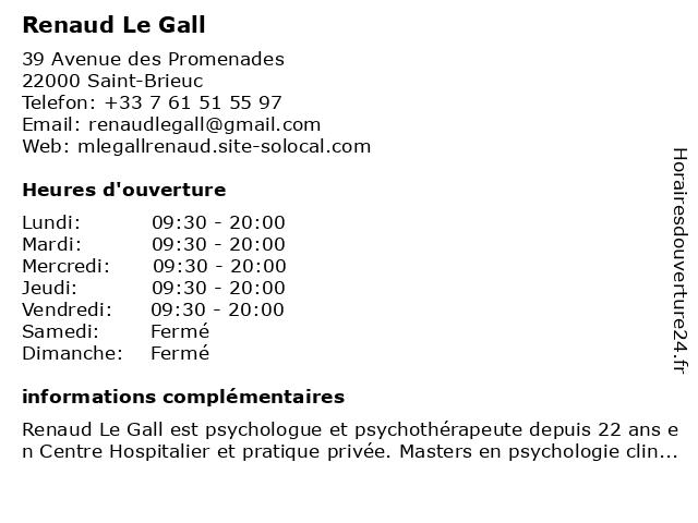 Renaud Le Gall à Saint-Brieuc: adresse et heures d'ouverture