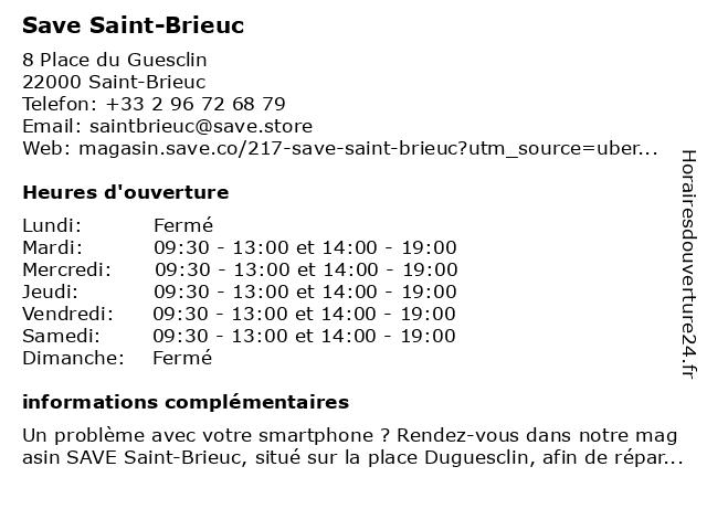 SAVE Saint Brieuc à Saint-Brieuc: adresse et heures d'ouverture