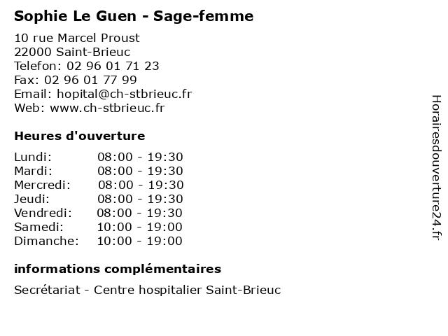Sophie Le Guen - Sage-femme à Saint-Brieuc: adresse et heures d'ouverture