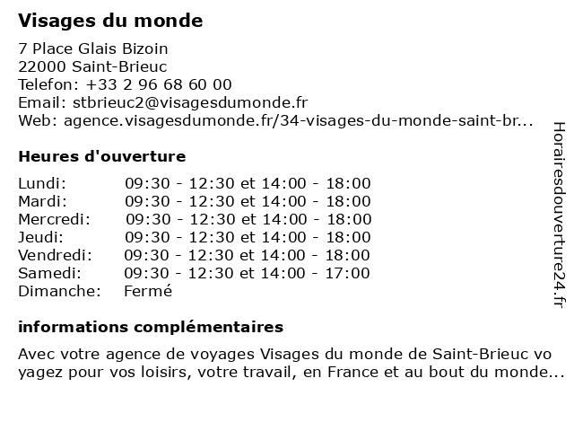 Visages du monde à Saint-Brieuc: adresse et heures d'ouverture