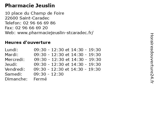Pharmacie Jeuslin à Saint-Caradec: adresse et heures d'ouverture