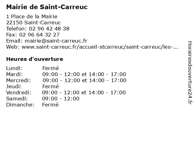 Mairie de Saint-Carreuc à Saint-Carreuc: adresse et heures d'ouverture