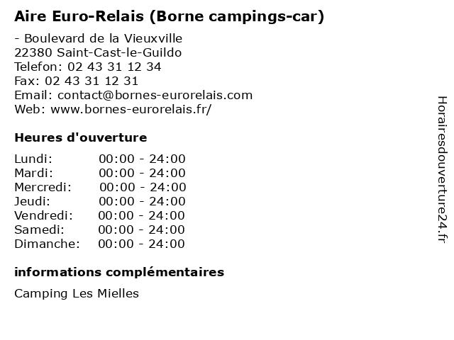 Aire Euro-Relais (Borne campings-car) à Saint-Cast-le-Guildo: adresse et heures d'ouverture