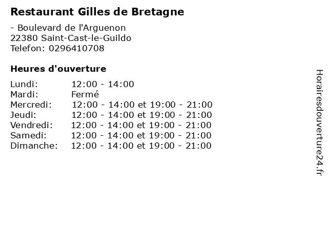 Restaurant Gilles de Bretagne à Saint-Cast-le-Guildo: adresse et heures d'ouverture