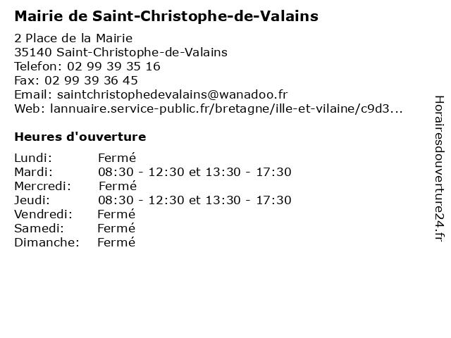 Mairie de Saint-Christophe-de-Valains à Saint-Christophe-de-Valains: adresse et heures d'ouverture
