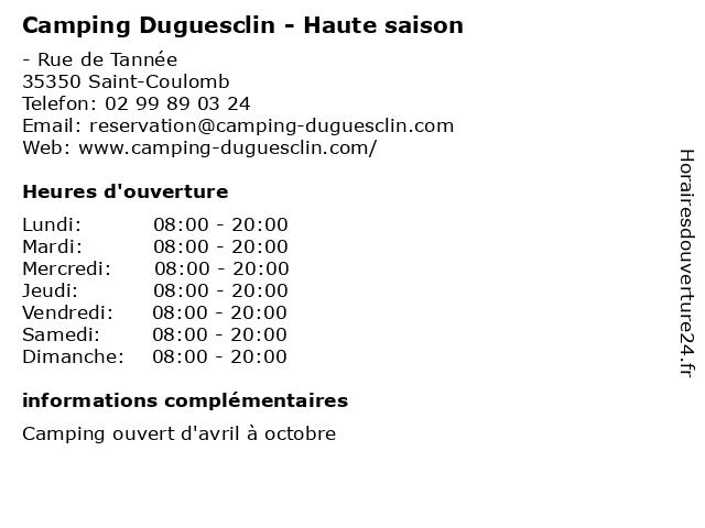Camping Duguesclin - Haute saison à Saint-Coulomb: adresse et heures d'ouverture