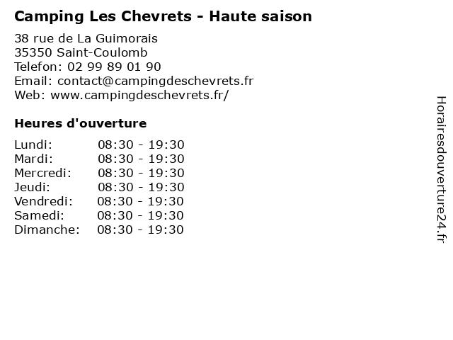 Camping Les Chevrets - Haute saison à Saint-Coulomb: adresse et heures d'ouverture