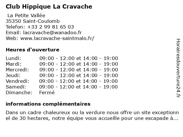 Club Hippique La Cravache à Saint-Coulomb: adresse et heures d'ouverture