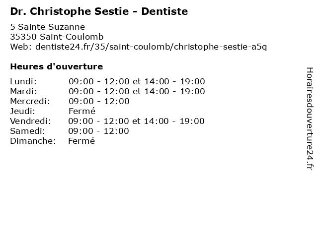 Dr. Christophe Sestie - Dentiste à Saint-Coulomb: adresse et heures d'ouverture