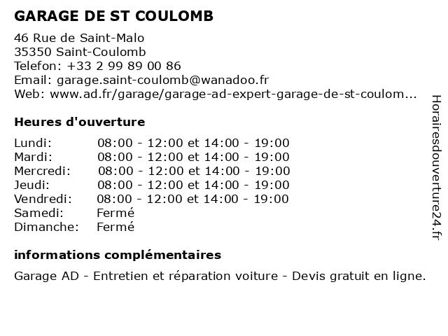 GARAGE DE ST COULOMB à Saint-Coulomb: adresse et heures d'ouverture