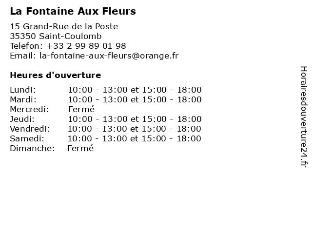 La Fontaine Aux Fleurs à Saint-Coulomb: adresse et heures d'ouverture
