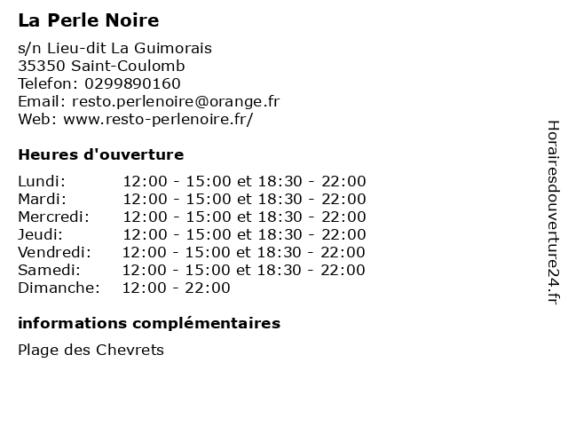 La Perle Noire à Saint-Coulomb: adresse et heures d'ouverture