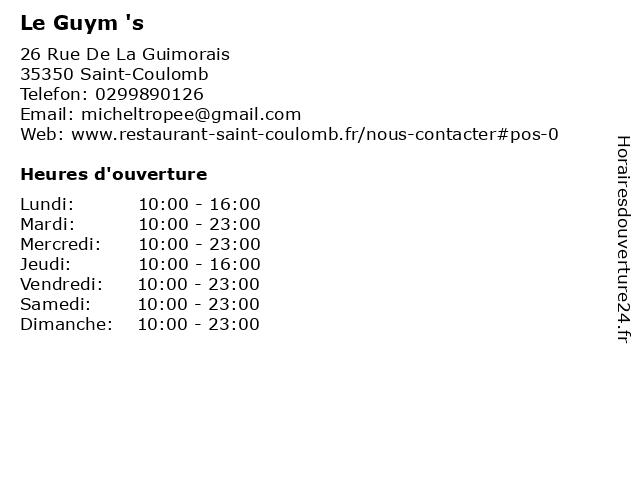 Le Guym 's à Saint-Coulomb: adresse et heures d'ouverture