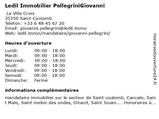 Ledil Immobilier PellegriniGiovanni à Saint-Coulomb: adresse et heures d'ouverture
