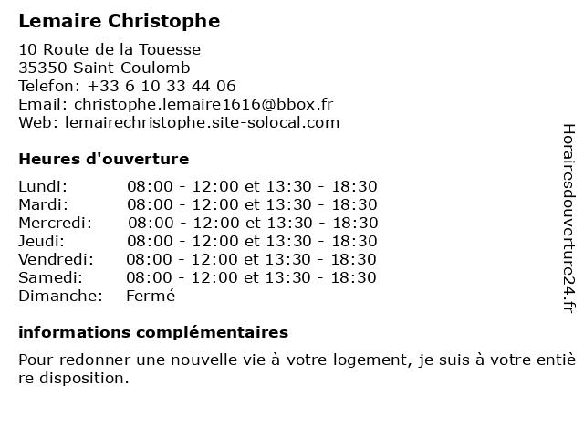 Lemaire Christophe à Saint-Coulomb: adresse et heures d'ouverture