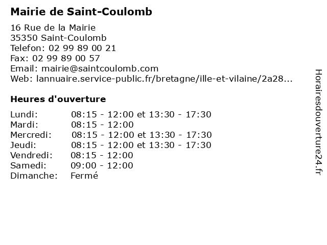 Mairie de Saint-Coulomb à Saint-Coulomb: adresse et heures d'ouverture
