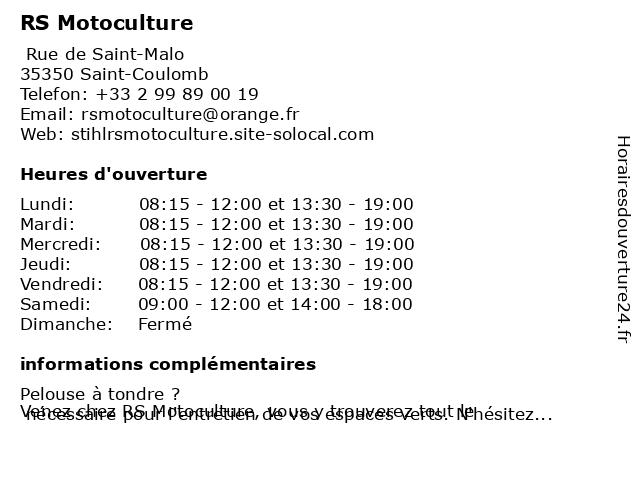 RS Motoculture à Saint-Coulomb: adresse et heures d'ouverture
